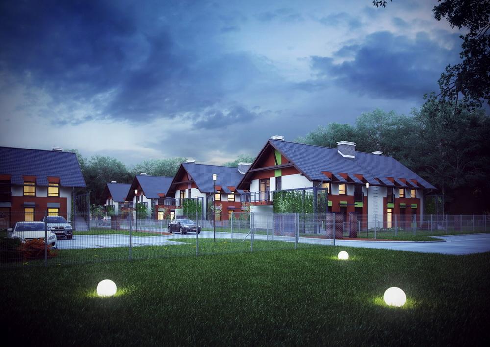 """Wizualizacja architektoniczna budynków jednorodzinnych w zabudowie bliźniaczej """"Jurajskie Zacisze"""""""